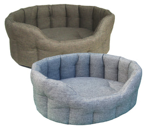 P&L PREMIUM HEAVY DUTY OVAL DROP FRONTED BASKET WEAVE SOFTEE BEDS