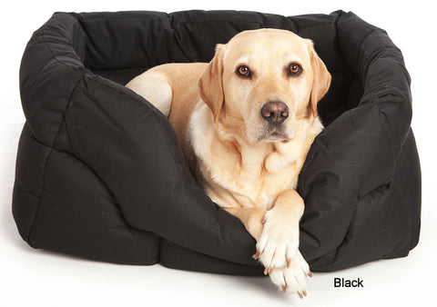 P&L Country Dog Heavy Duty Rectangular Waterproof Softee Bed, Colour Black with Dog, Sizes Medium,Large,Jumbo