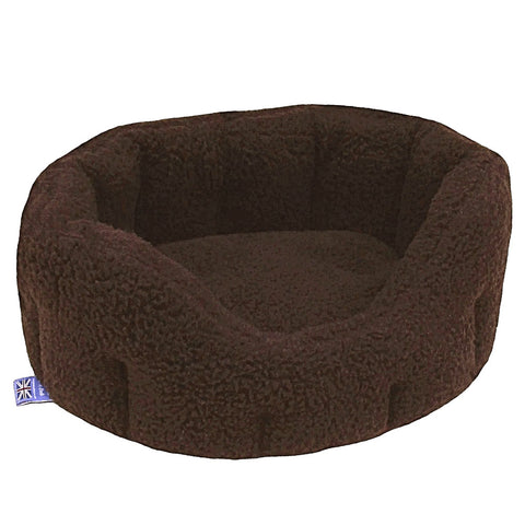 P&L Country Dog  Oval Sherpa Fleece High Sided Bolster Dog Beds