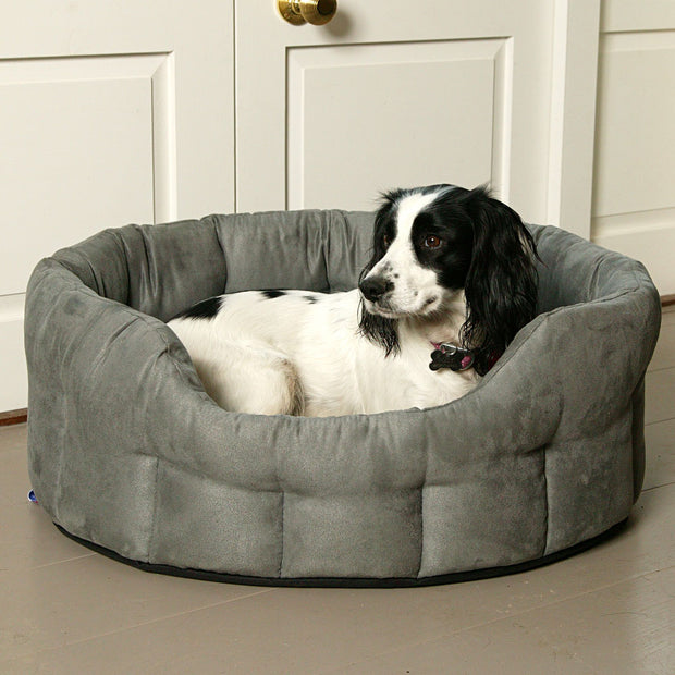 P&L Country Dog Heavy Duty Oval Faux Suede Bolster Style Dog Bed
