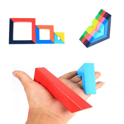 Nesting Creativo In Legno Gioco Impilabile Geometry Building Blocks