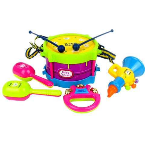 5pcs/set Kid's Musical Instruments Baby Rattles Shake Bell Ring Children Early Learning Toys Hand Beat Drums Toys for toddlers