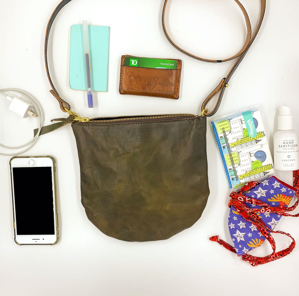dawn - olive leather crossbody (ready to ship!) - materials and methods