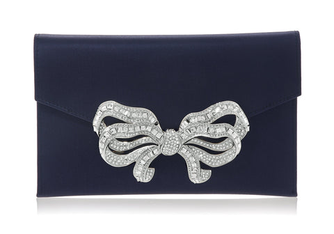 Bow Envelope Satin Navy