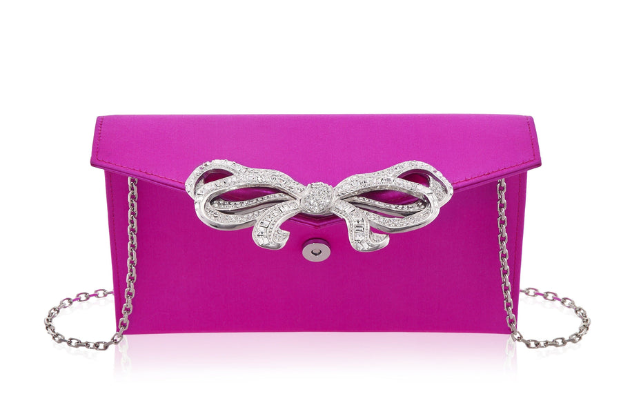 Bow Envelope Satin Fuchsia