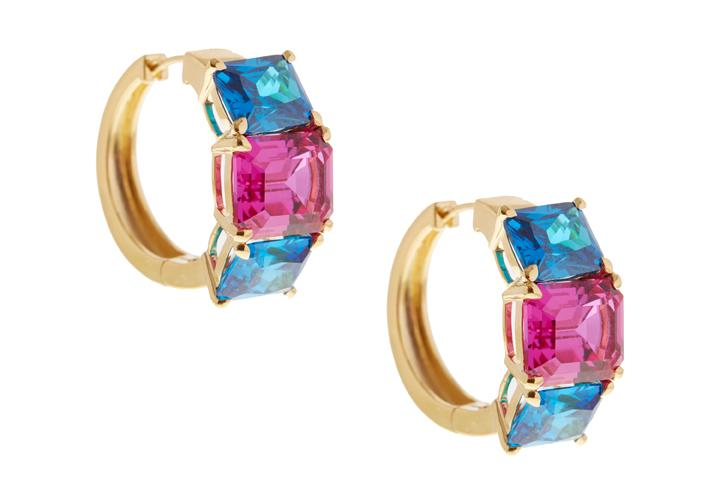Blue and Pink Three Stone Gem Hoop Earring