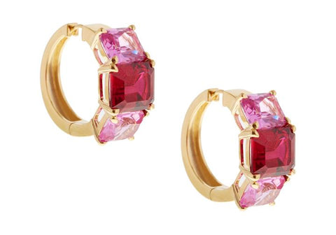 Pink And Red Triple Gem Earrings