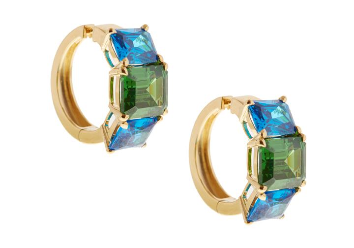 Blue And Green Triple Gem Earrings