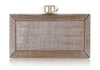 Crocodile Nude Faceted Clutch