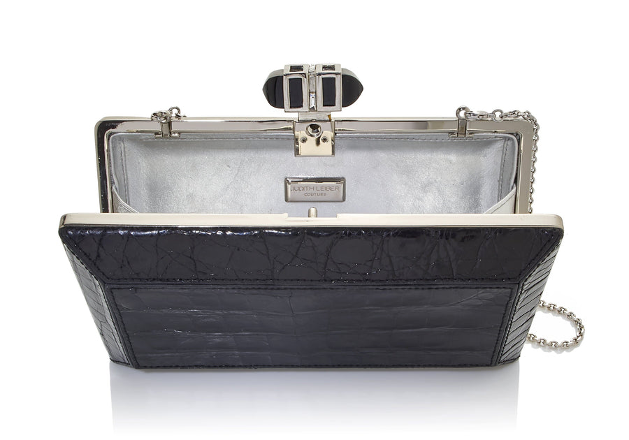 Crocodile Black Silver Clutch