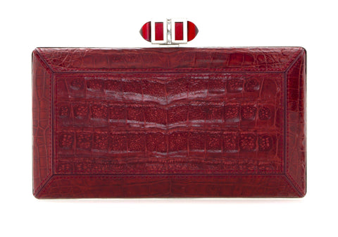 Crocodile Red Faceted Clutch
