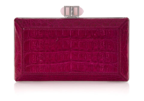 Crocodile Fuchsia Clutch