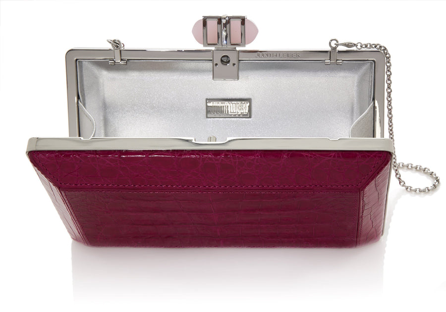Crocodile Fuchsia Faceted Clutch