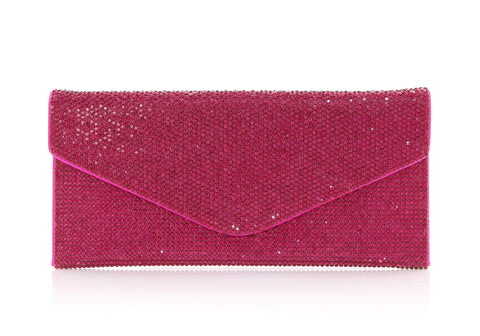 Envelope Fuchsia Crystal Clutch