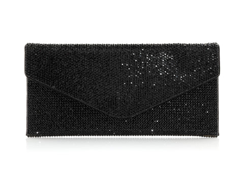 Envelope Black Crystal Clutch