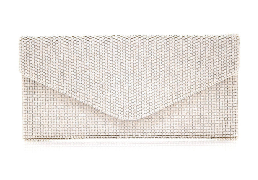 Envelope White Crystal Clutch