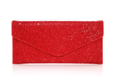 Envelope Red Crystal Clutch