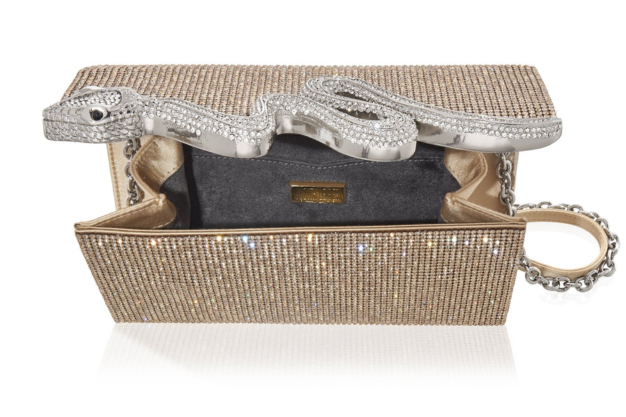 Serpent Crystal Clutch Champagne
