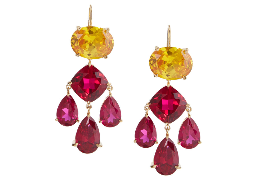 Gem Pink Multi-Color Chandelier Earrings