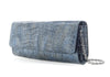 Kate Denim Crocodile Clutch