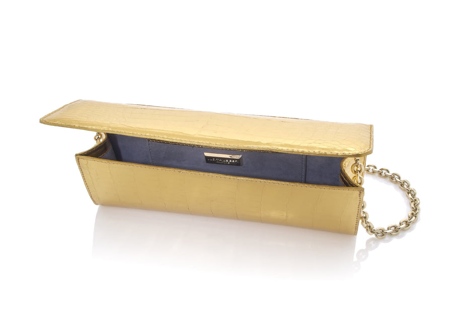 Kate Gold Crocodile Clutch
