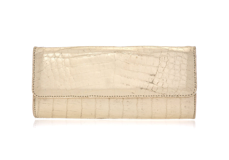 Kate Soft Gold Crocodile Clutch