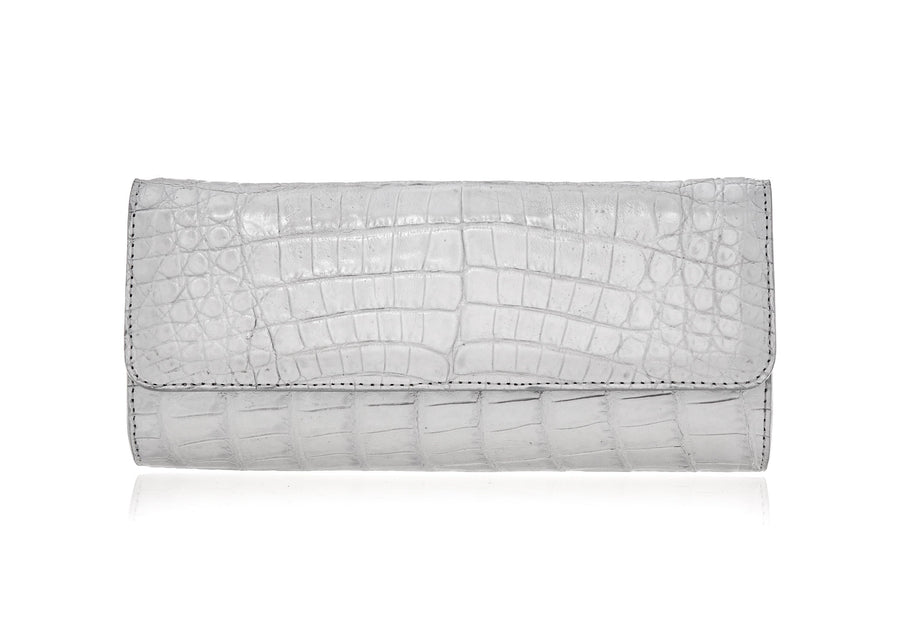 Kate Soft Silver Crocodile Clutch