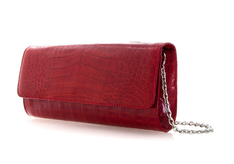 Kate Red Crocodile Clutch