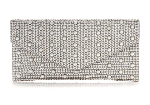 Envelope Silver Crystal Clutch with Pearl Studs