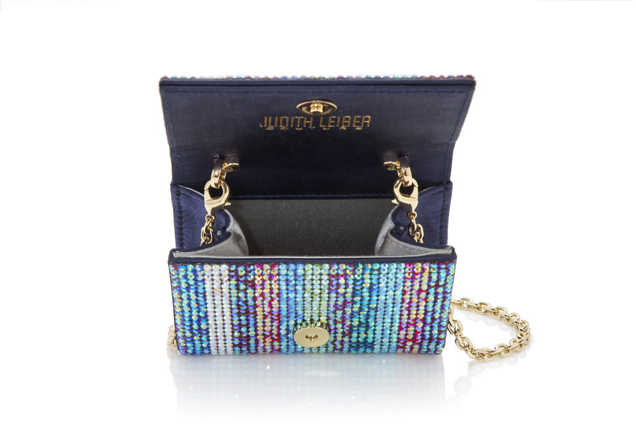 Micro Fizzy Iridescent Stripe Crystal Clutch