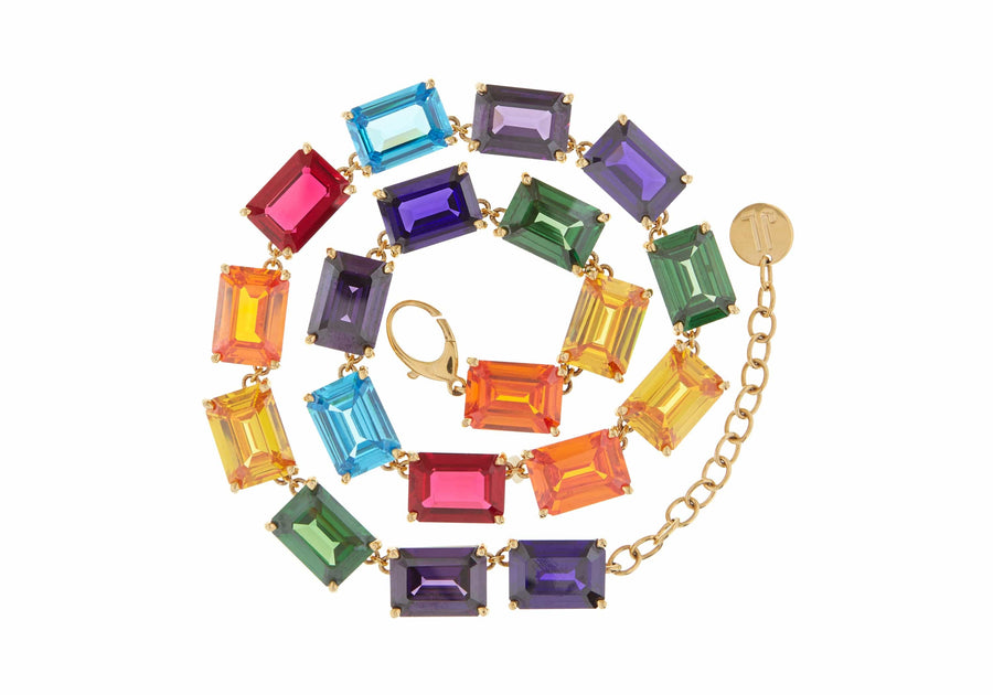 Rainbow Gem Collet Necklace