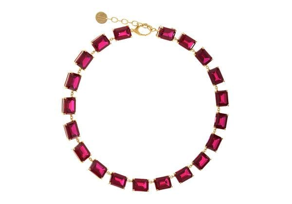 Deep red gem collet necklace