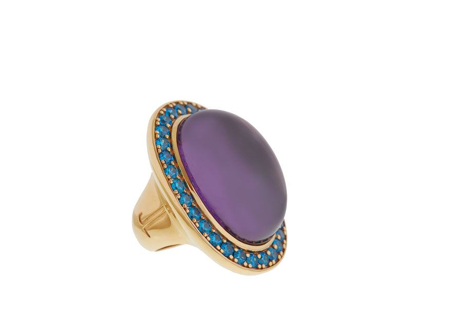 Purple Vertical Cabochon Ring