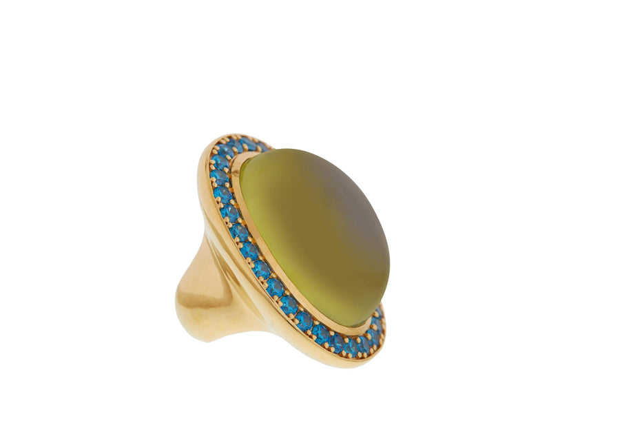 Green Vertical Cabochon Ring