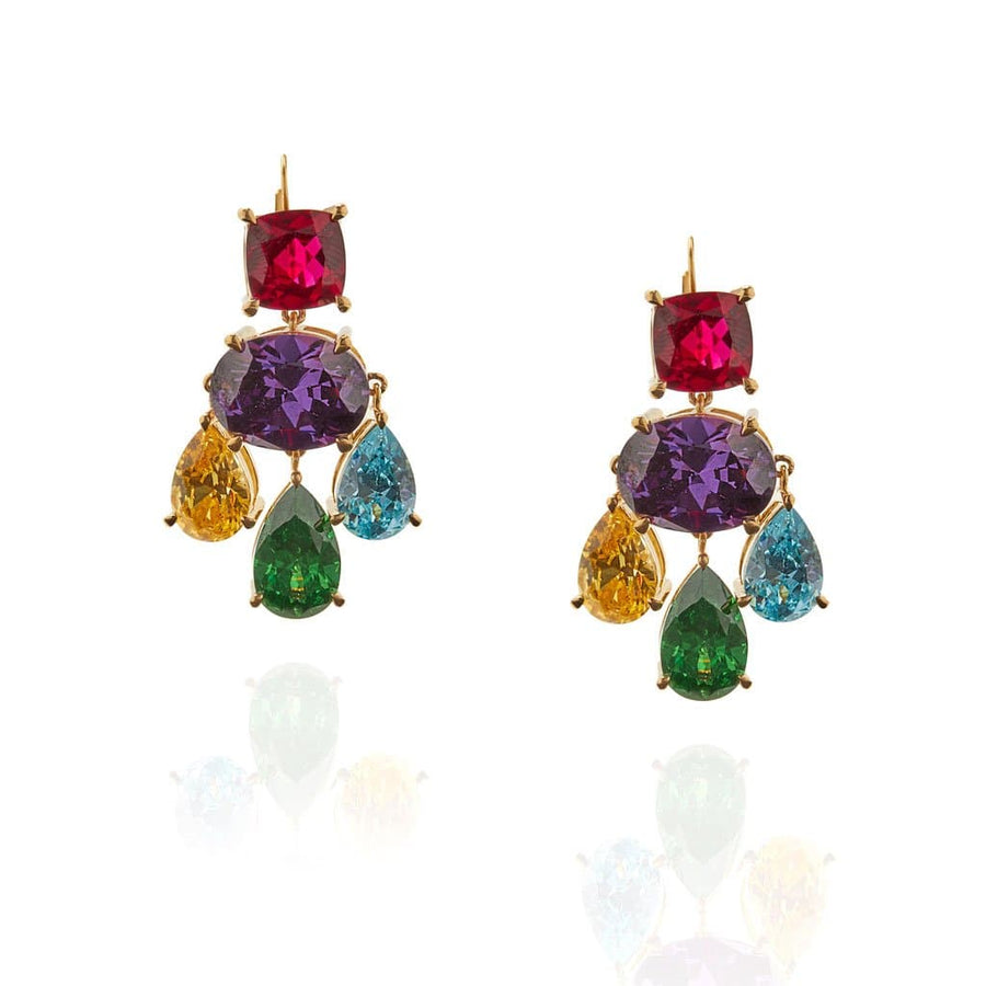 Multi-Color Gem Chandelier Earrings