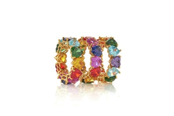 Multicolor Large Heart Gem Eternity Band