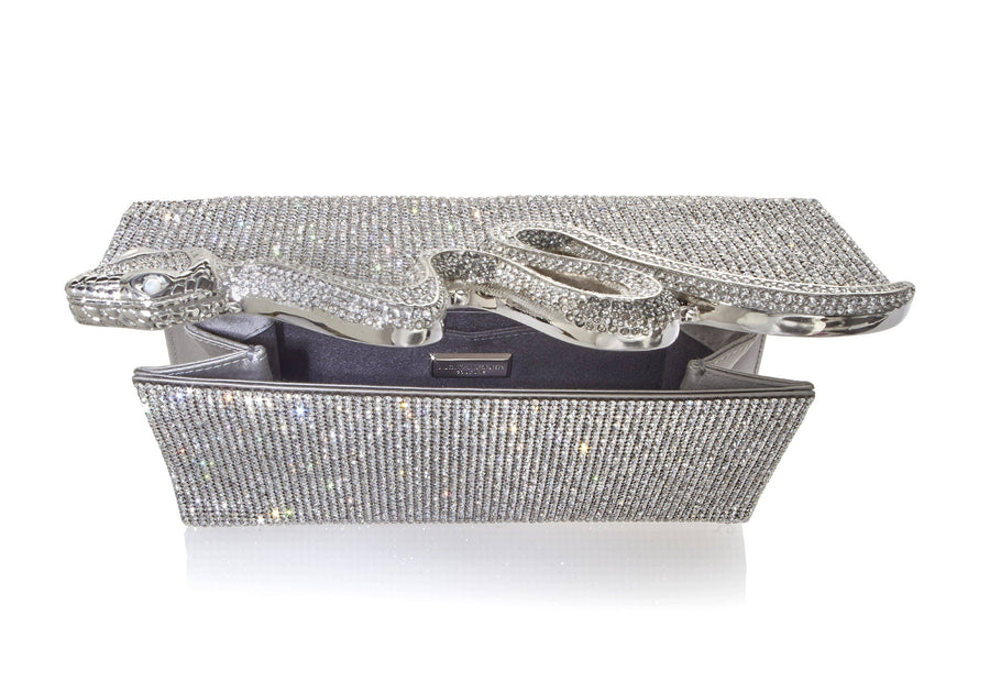 Serpent Crystal Clutch Silver
