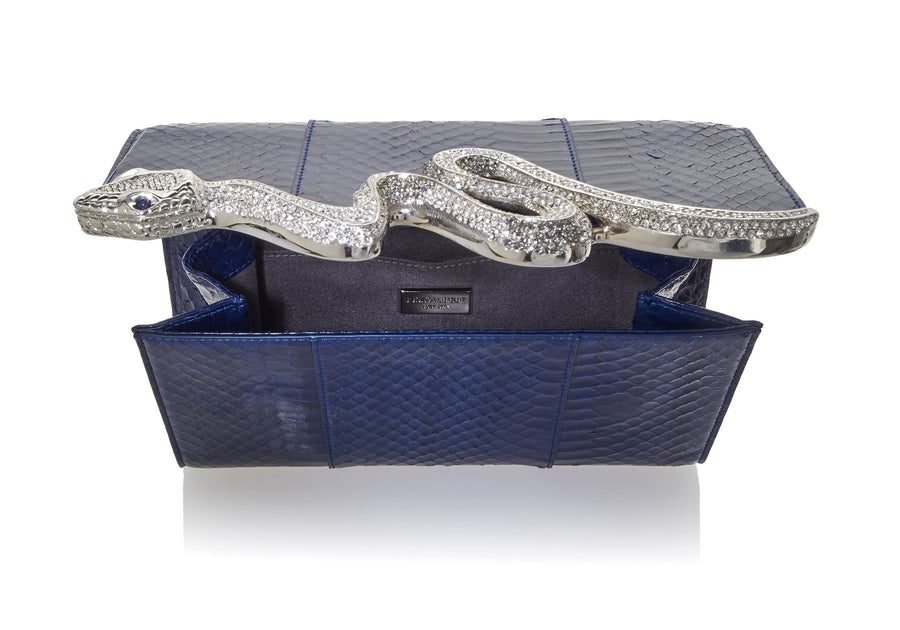 Serpent Snakeskin Clutch Navy