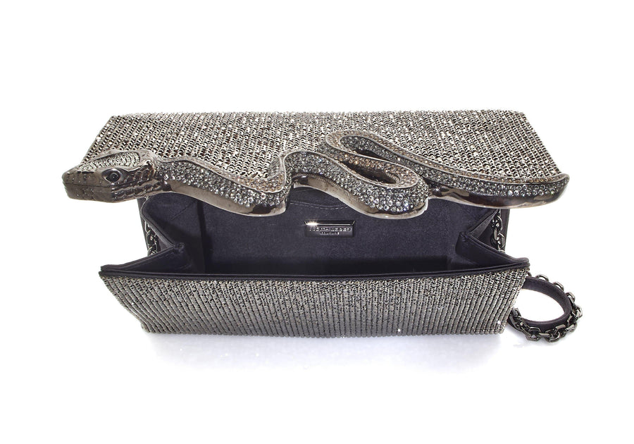 Serpent Crystal Clutch Grey