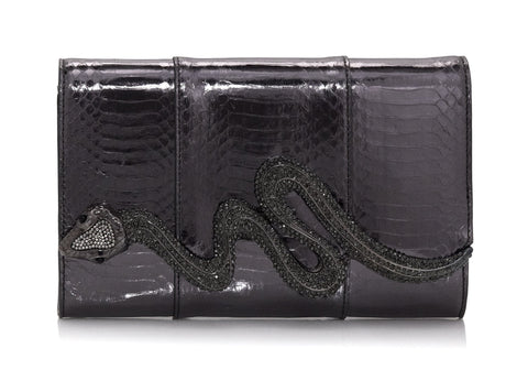 Serpent Snakeskin Clutch Grey