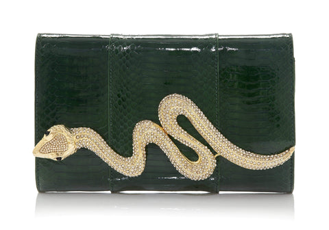 Serpent Snakeskin Clutch Emerald