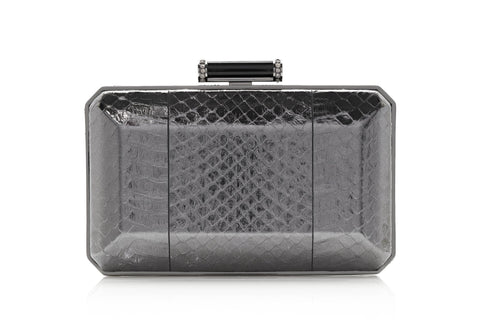 Soho Grey Snakeskin Clutch