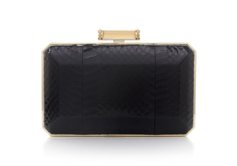 Soho Black Snakeskin Clutch