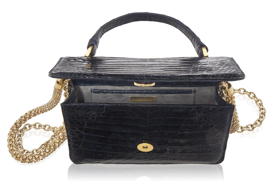 Top Handle Black Crocodile