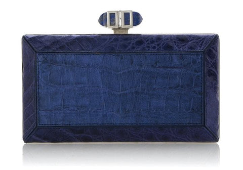 Crocodile Cobalt Clutch