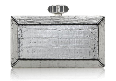 Crocodile Silver Clutch