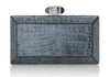 Crocodile Denim Faceted Clutch