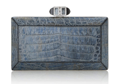 Crocodile Denim Clutch