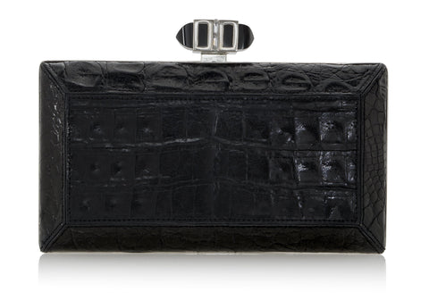 Crocodile Black Clutch
