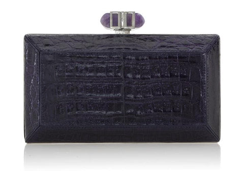 Crocodile Amethyst Clutch